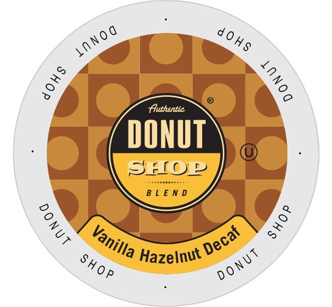 Authentic Donut Shop Blend Vanilla Hazelnut Decaf Medium Roast 24ct