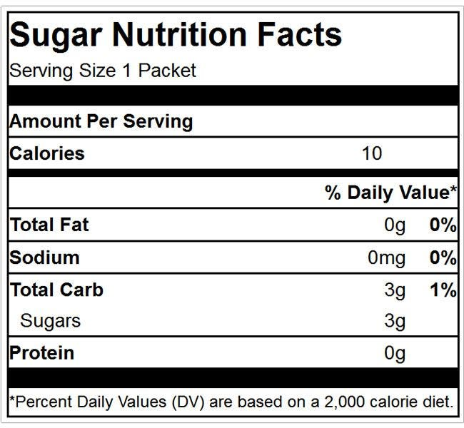 Granulated Sugar Packet Nutrition Facts Ingredients | 100% Pure Cane Sugar, Kosher, 1 Packet Equals 10 Calories, Total Carbs 3g, Sugars 3g.