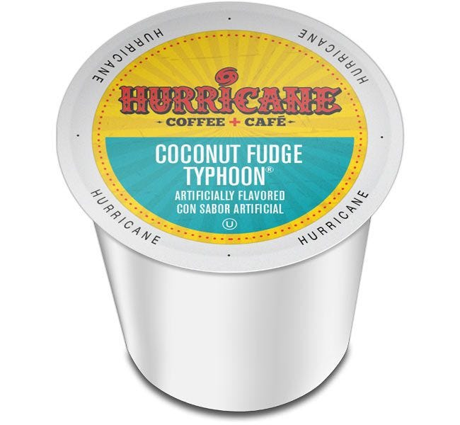 Hurricane Coffee Coconut Fudge Typhoon Medium Roast 24ct