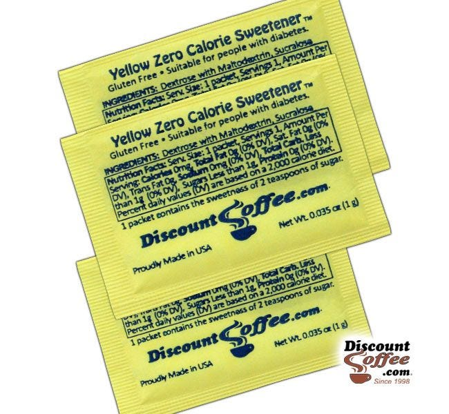 Yellow Packets Sugar Substitute Artificial Sweetener Ingredients   Suitable for People with Diabetes. Dextrose, Maltodextrin, Sucralose, Gluten Free, Kosher.